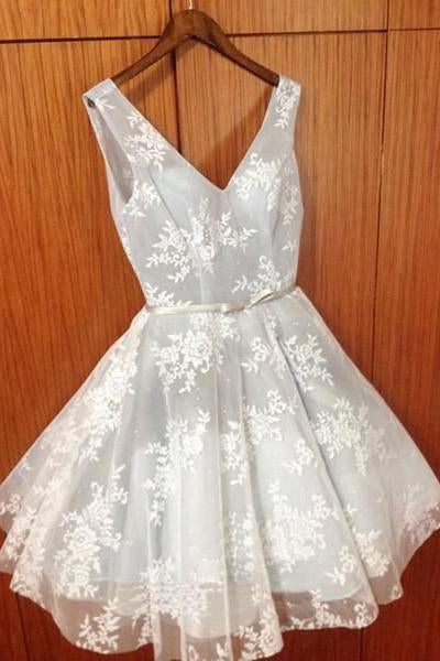 Cute Lace Homecoming Dress,A-Line V-Neck Short Party Dresses PFH0014