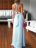 Sheath/Column V-neck Chiffon Floor-length Ruffles Blue Backless Sexy Prom Dresses PFP0962