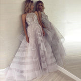 Fashion A-Line Crew Backless Lavender Organza Prom Dress with Beading PFP0027