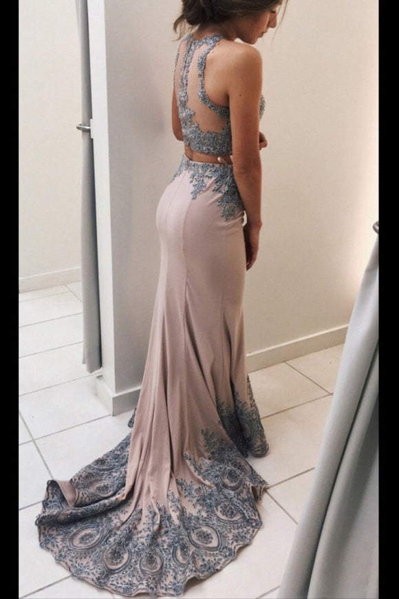 Lace Appliqued 2 Pieces Mermaid Sweep Train Prom Dresses,Senior Prom 2017 Dress PFP0966