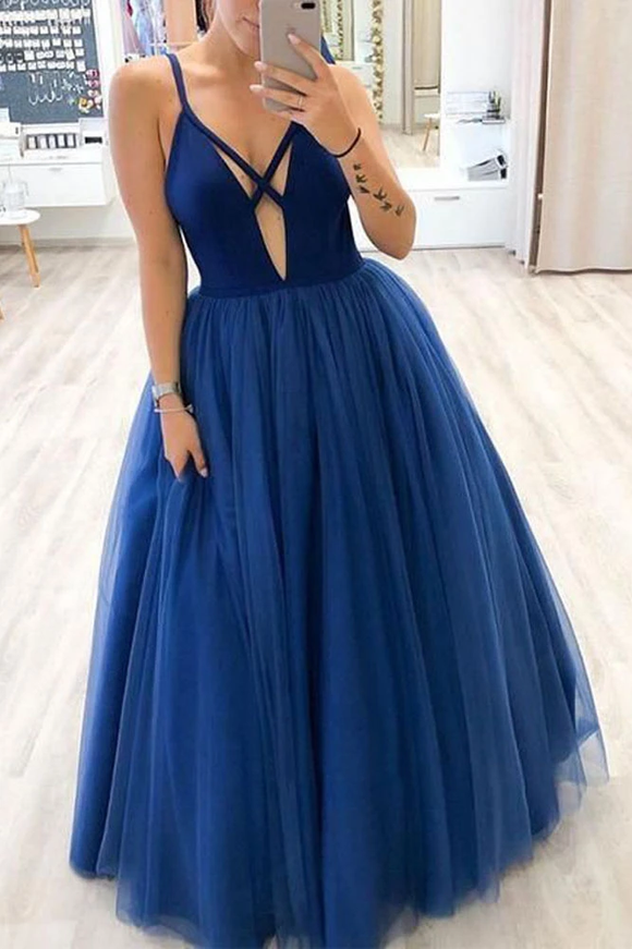 Promfast A Line Deep V Neck Royal Blue Long Tulle Prom Dresses with Straps PFP1850
