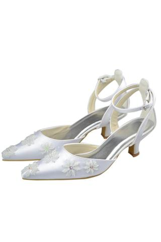 Ankle Strap Pointed Toe Handmade White Prom Shoes With Flower