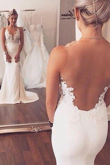Sexy Mermaid Lace Sheer Back Long Ivory Beach/Coast Wedding Dress PFW0002