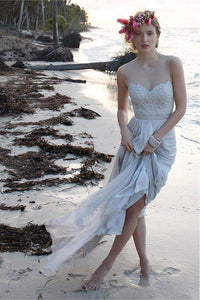 Casual Chiffon Sheer Back Lace Beach/Coast Wedding Dress,A Line Long Wedding Gown PFW0236