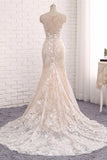 Unique Mermaid White Sleeveless Prom Dress,Lace Long Sweep Train Wedding Dress PFW0152