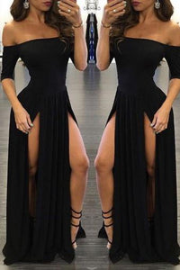 Shevny Sexy Chiffon Off-the-shoulder Half-Sleeve Black Prom Dresses With Split PFP0971