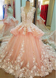 Tulle Lace Scoop Neckline Ball Gown Wedding Dress With Lace Appliques,Quinceanera Dresses PFW0153