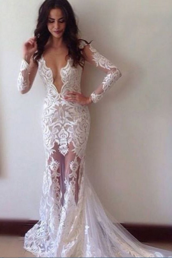 Sexy Sheath Lace Deep V-neck Long Sleeves Wedding Dresses,Long Formal Prom Dress PFW0155