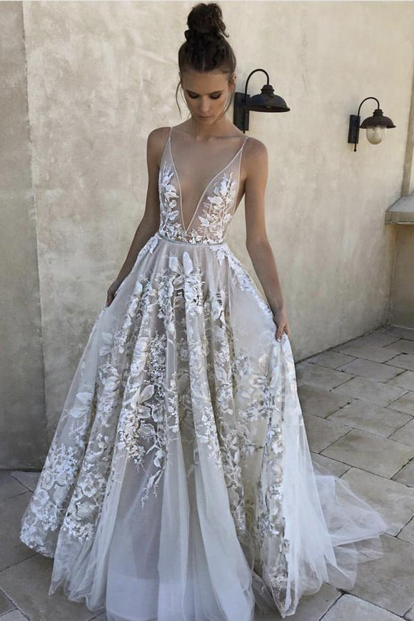 Elegant A Line Deep V-Neck Ivory Tulle Long Prom Dress with Lace Appliques