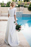 Lace A-Line Beading Ivory Half Sleeve Chiffon Long Wedding Dress PFW0158