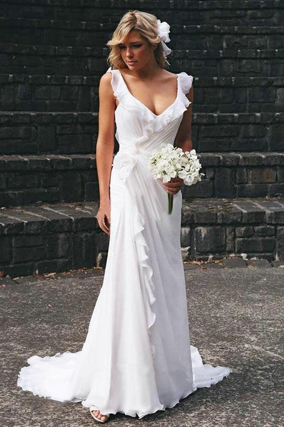 Simple White V-neck Chiffon Ruffles Sleeveless Wedding Dress Bridal Gowns PFW0159