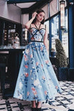 Chic Blue Floral Printed A Line Long Prom Dress Pretty Party Dress PFP0028