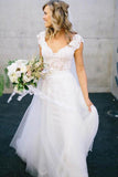 White V-Neck Lace Top Tulle Cap Sleeve A-Line Wedding Dress PFW0162