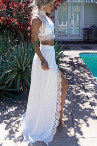 Lace Two Pieces White Slit Prom Dresses,Fashion Sexy Long Evening Party Dress PFP0980