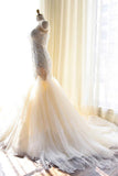 Fashion Tulle Mermaid Lace Appliques Sweetheart Wedding Dress With Count Train PFW0163