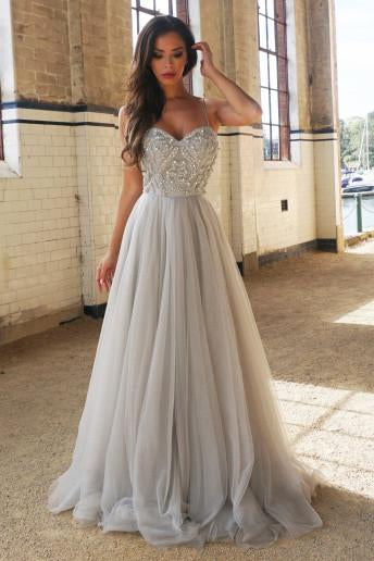 Princess A-Line Spaghetti Straps Floor-Length Beading Prom Dress/Wedding Dresses PFP0983