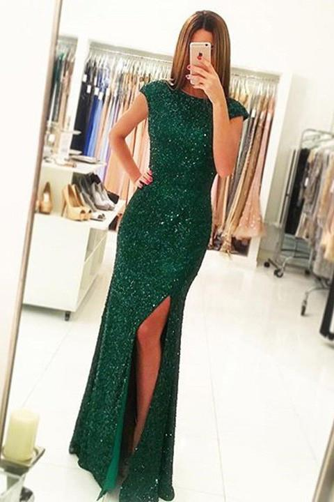 Luxurious Cap Sleeves Dark Green Split-Front Open Back Long Sequin Sexy Mermaid Prom Dress PFP0984