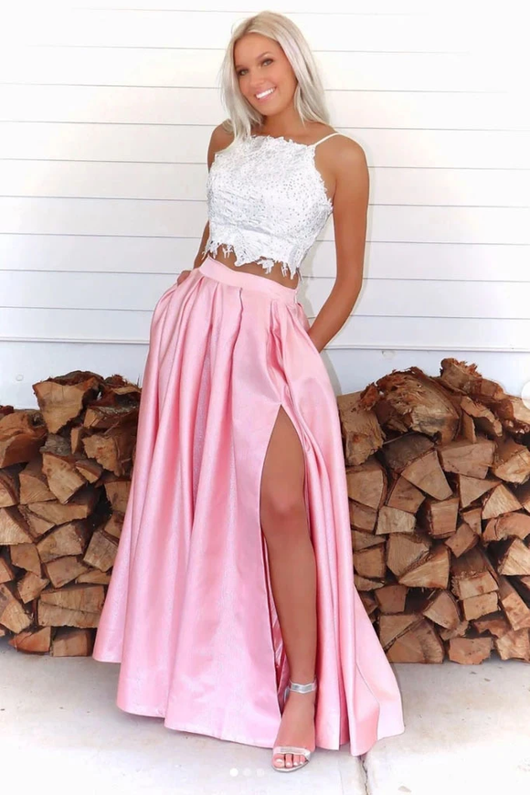 Promfast Two Pieces A Line Pink Lace Top Slit Prom Dresses With Pockets PFP1853