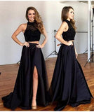 Two Pieces Black Long Sexy Split Prom Dress, Formal Graduation Party Dresses PFP0987
