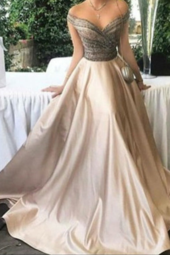 Elegant A-Line Off-Shoulder Long Ball Gown Satin Prom/Evening Dress PFP0991