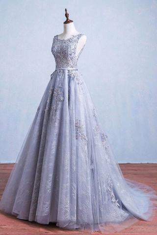 Glamorous A-Line Round Neck Gray Tulle Ball Gown Long Prom Dress PFP0992