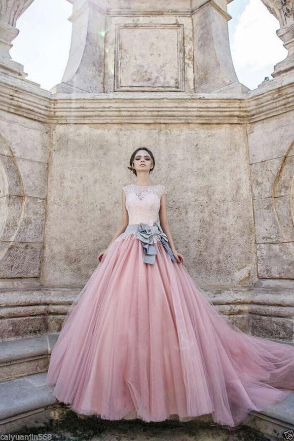 Princess Cap Sleeves Ball Gown Bateau Lace Bow-knot Pink Tulle Wedding Dresses PFW0174