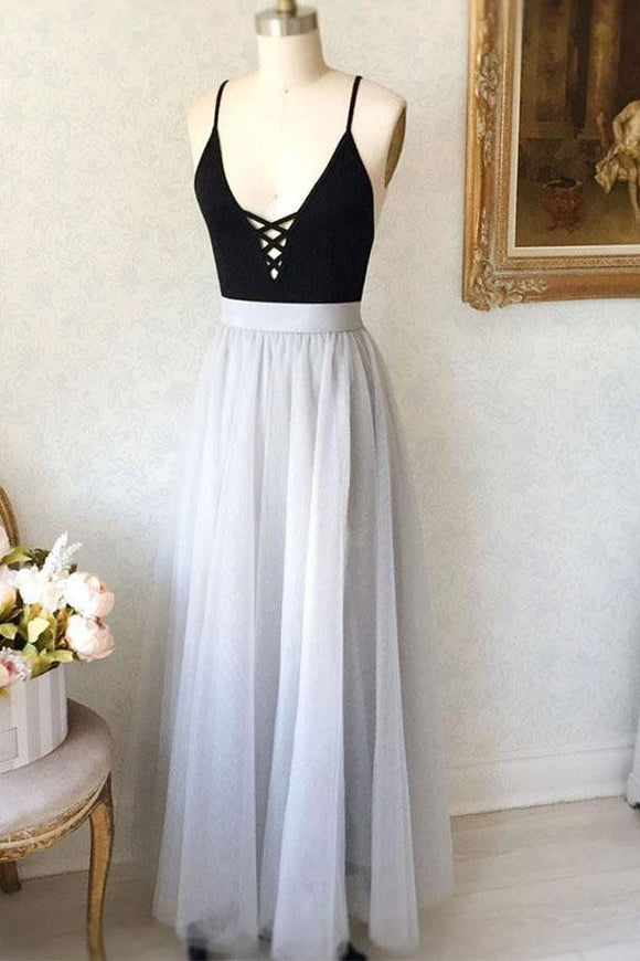 Simple A-Line Spaghetti Straps Black Top Tulle Gray Long Prom Evening Dress PFP0030