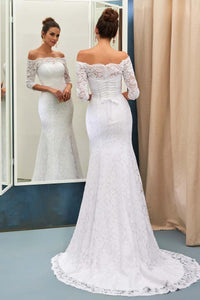 Elegant White Off-The-Shoulder 3/4-Length Sleeves Lace Mermaid Wedding Dress PFW0180