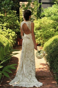 Ivory Lace Open Back Sweep Train Sheath Sleeveless Wedding Dresses PFW0185