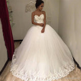 Sweetheart Sleeveless Tulle Long Ball Gown Wedding Dress with Lace Appliques PFW0314