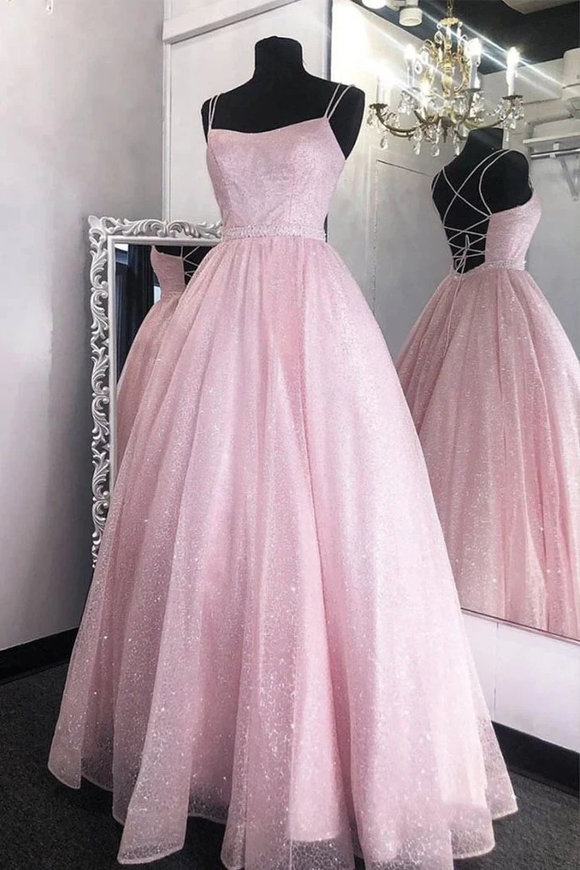 Promfast Pink Tulle Sequin Long Cross Back Prom Dresses Evening Dress PFP1856