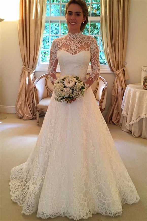 Elegant Lace A-line Long Sleeves High Neck Open Back Wedding Dresses PFW0193