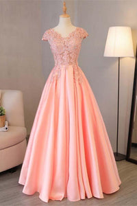 Blush Pink A Line Cap Sleeves Appliques Beaded Long Prom Dresses