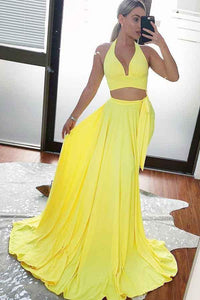 Two Piece A Line Yellow Cheap Long Prom Dress Sexy Formal Evening Dress PFP0033