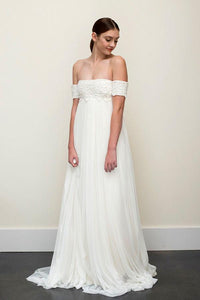 Long A-line Off-the-shoulder Backless Chiffon Wedding Dress,Sexy Wedding Gown PFW0199