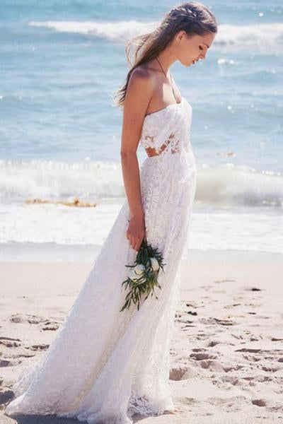 Simple Strapless Lace Long White Beach Wedding Dresses PFW0200