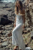 Summer Long Sheath Spaghetti Straps Lace Backless Beach Wedding Dresses PFW0201
