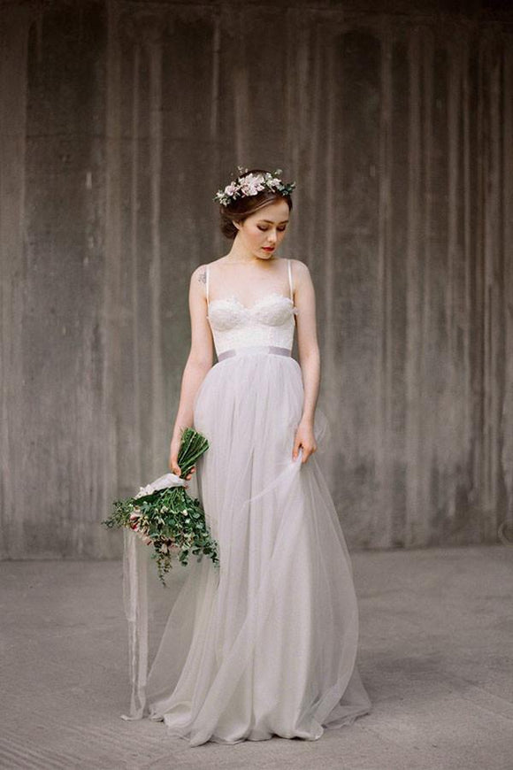 Spaghetti Straps Backless Grey Tulle Long Wedding Dresses With Lace Applique PFW0202