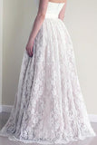 Sweetheart Sleeveless Long White Lace A Line Wedding Dress with Belt PFW0205