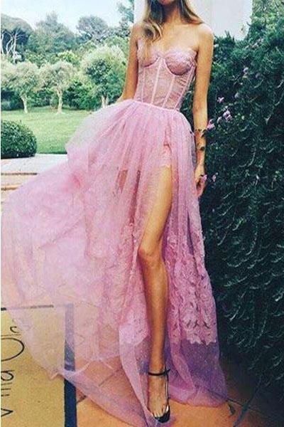 Sexy Pink Sweetheart Side Split Lace Appliques Pretty Long Prom Party Dress PFP0034