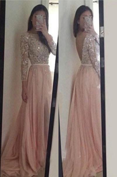 Blush Pink Long Sleeves Lace Backless Prom Dresses, Long Evening Dress PFP0999