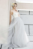 Sexy White Top A-line Lace Grey Tulle Strapless Sweetheart Neck Wedding Dresses PFW0217