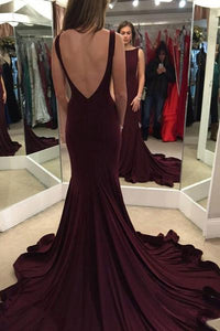 Elegant Mermaid Burgundy Sweep Train Prom Dress with Open Back PFP1002