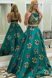 Two Piece A Line Floral Print Long Prom Dresses,Sexy Long Evening Dress PFP0035