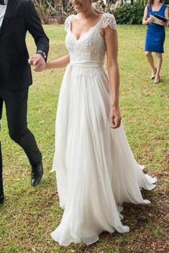 Unique Ivory Cap Sleeves Lace Top Backless Chiffon A Line Beach Wedding Dresses PFW0219