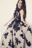 Appliques A-Line Round Neck Black Lace Long Prom Dress PFP1006