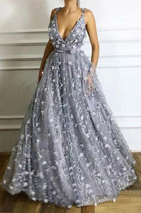 Deep V-Neck Long Flowers Lace Grey Prom Evening Dress A-Line Formal Dresses PFP0037