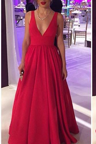 2019 Long Satin Red Prom Gowns,Sexy Backless Evening Party Dresses PFP1010