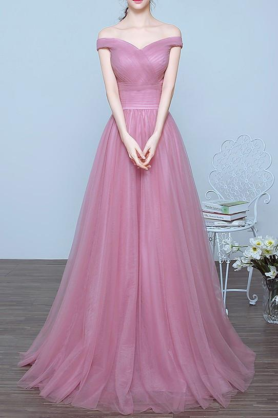 Charming Off the Shoulder A-line Long Prom/Evening Dresses 2019 for Graduation PFP1011