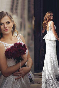 Romantic Sheath Backless Lace Wedding Dress,Cheap Bridal Gown